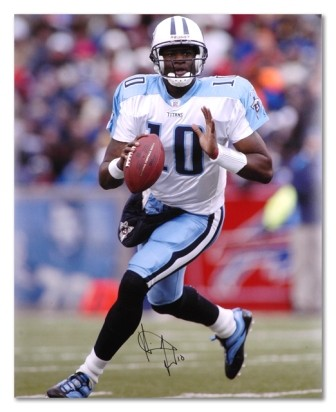 Vince Young Signed Tennessee Titans Action 16x20