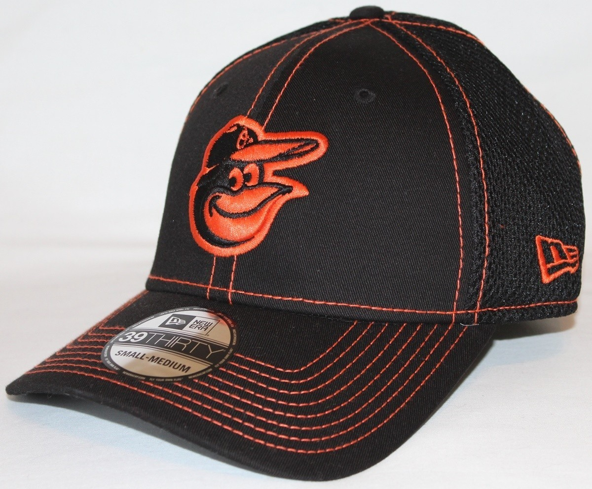 check out bc747 9a866 Details about Baltimore Orioles MLB New Era 39THIRTY Black Team Neo Fitted  Hat