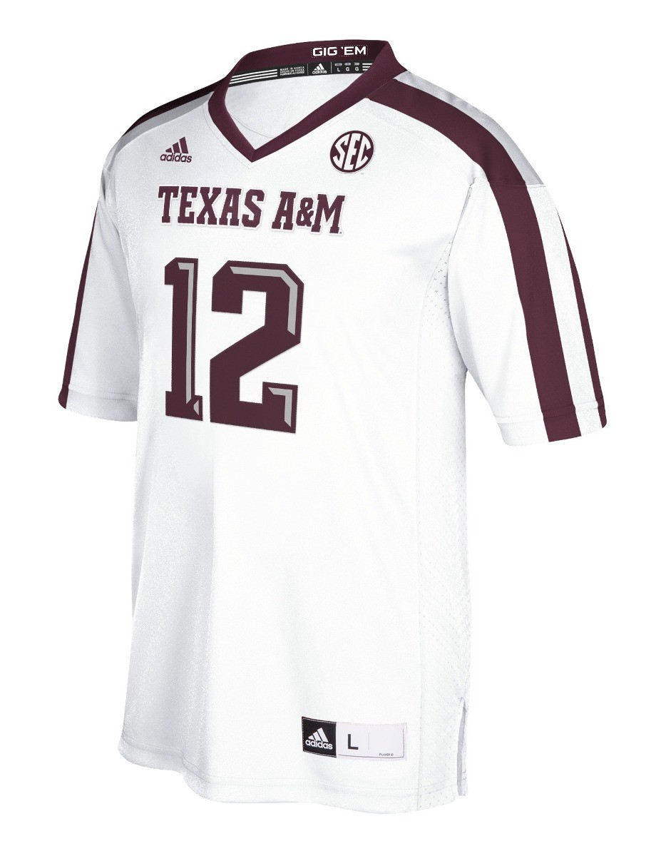 02a75230b Details about Texas A M Aggies Adidas NCAA Men s  12 Premier Football Jersey  - White