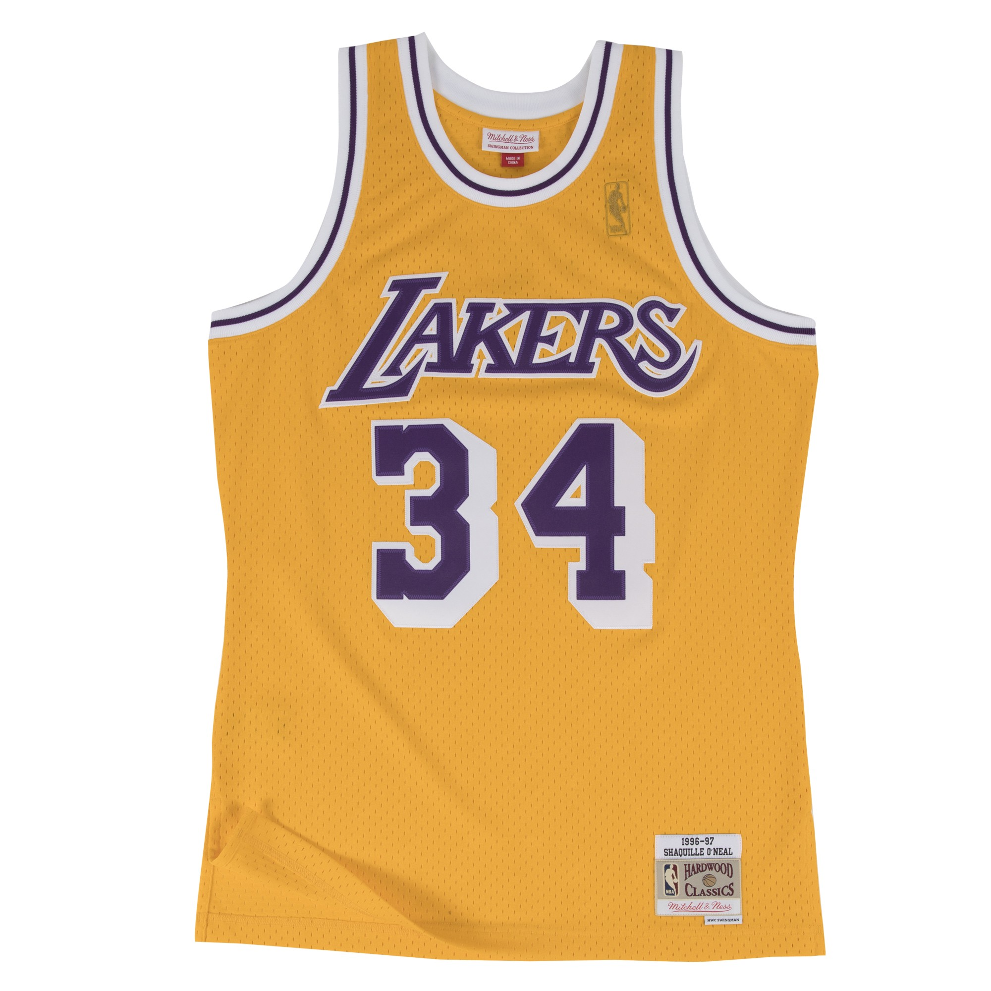 ... Shaquille ONeal Los Angeles Lakers Mitchell Ness NBA Throwback Gold  Jersey ... e971a187a