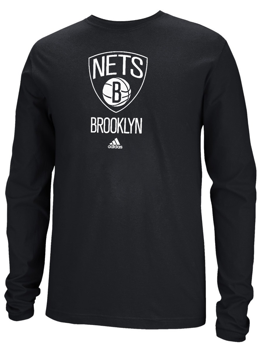 Brooklyn Nets Adidas NBA Full Primary Logo Long Sleeve T-Shirt - Black