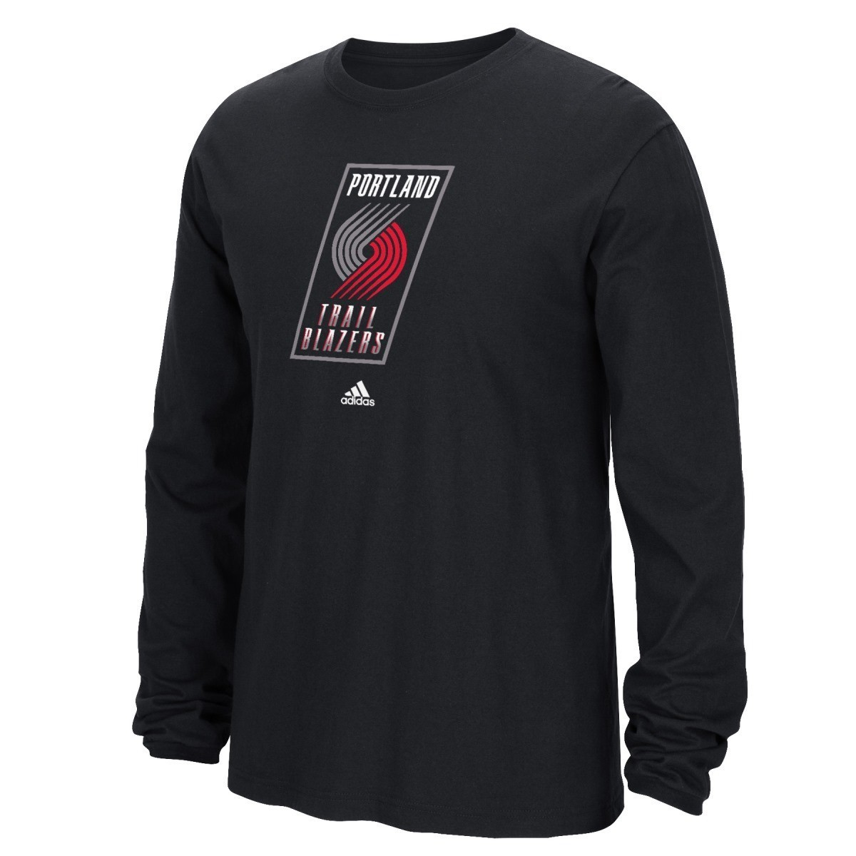 Portland Trail Blazers Adidas NBA Full Primary Logo Long Sleeve T-Shirt - Black