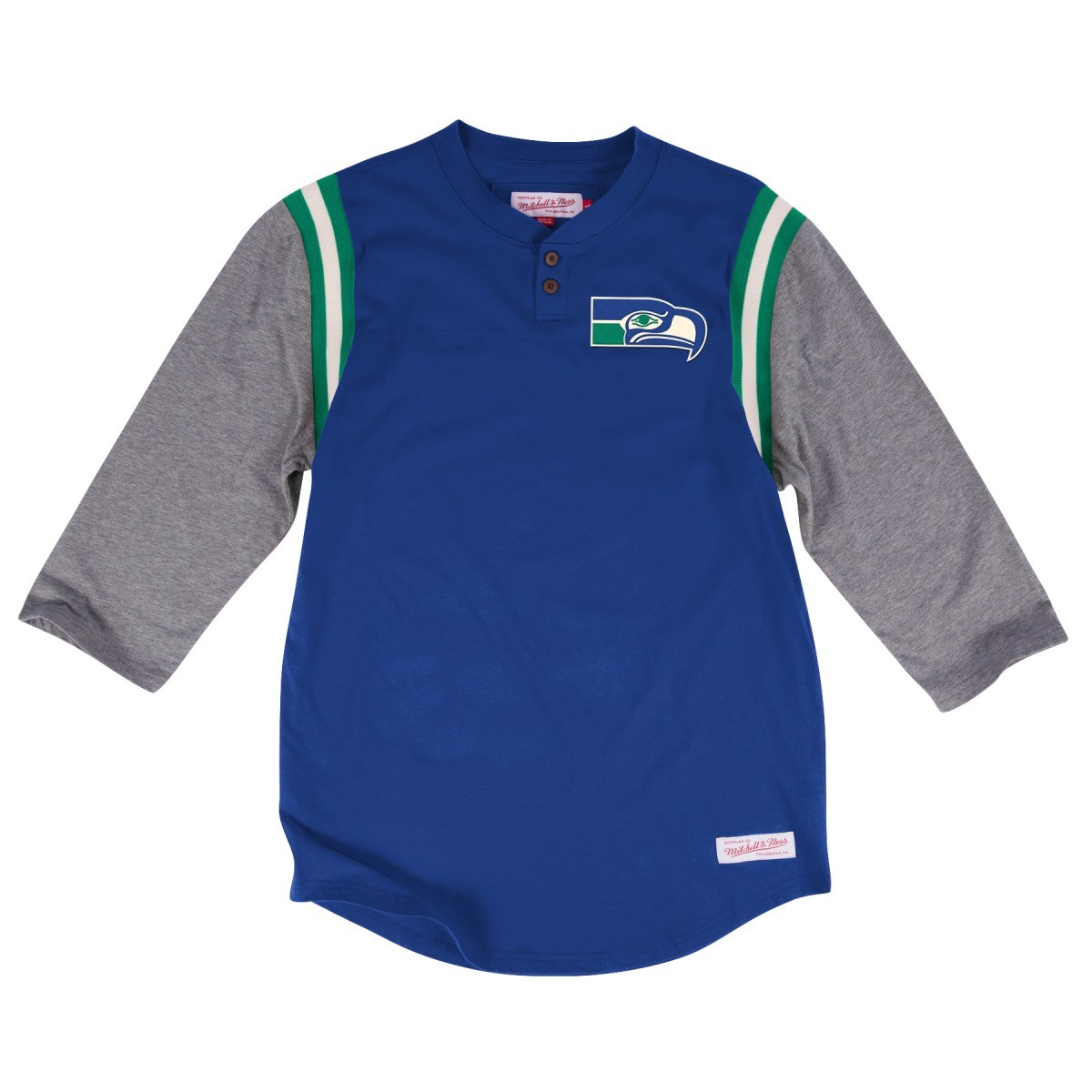 "Seattle Seahawks Mitchell & Ness NFL ""Rushing Play"" 3/4 Sleeve Henley Shirt"
