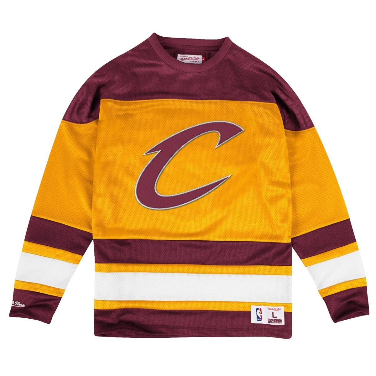 huge selection of 84960 03bb6 Details about Cleveland Cavaliers Mitchell & Ness NBA Mesh Jersey Long  Sleeve Crew Shirt