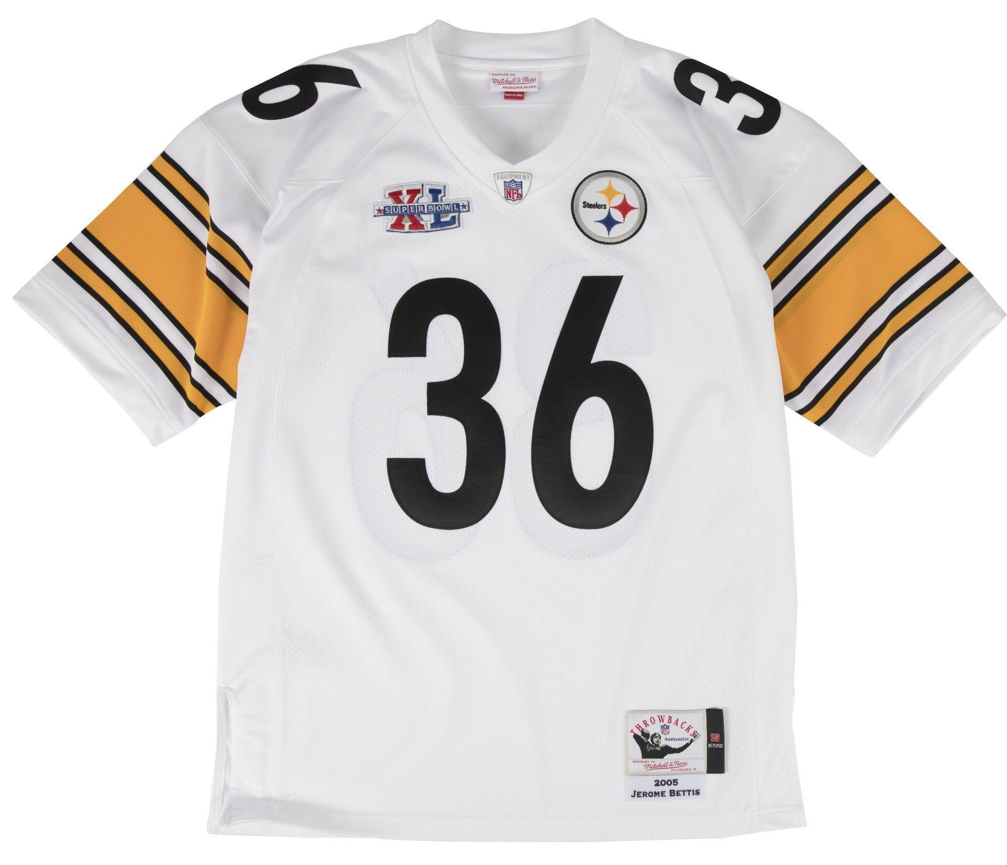 e60a55cf185 Details about Jerome Bettis Pittsburgh Steelers Mitchell   Ness Authentic  2005 White Jersey