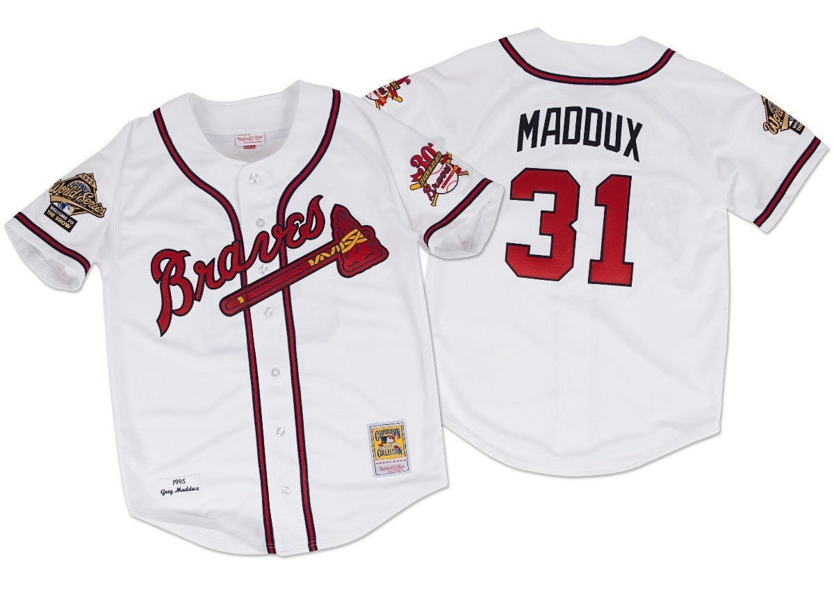 Greg Maddux Atlanta Braves Mitchell & Ness Authentic MLB 1995 Button Up Jersey