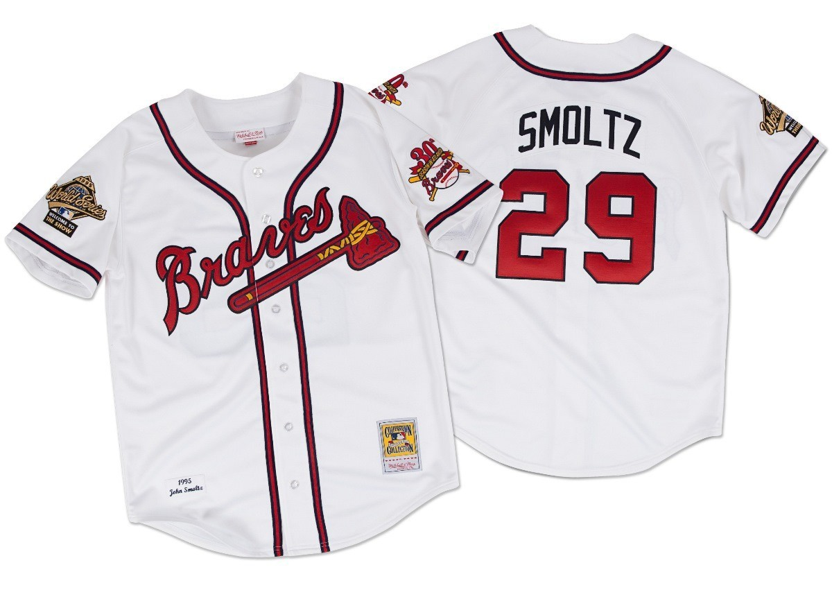 John Smoltz Atlanta Braves Mitchell & Ness Authentic MLB 1995 Button Up Jersey