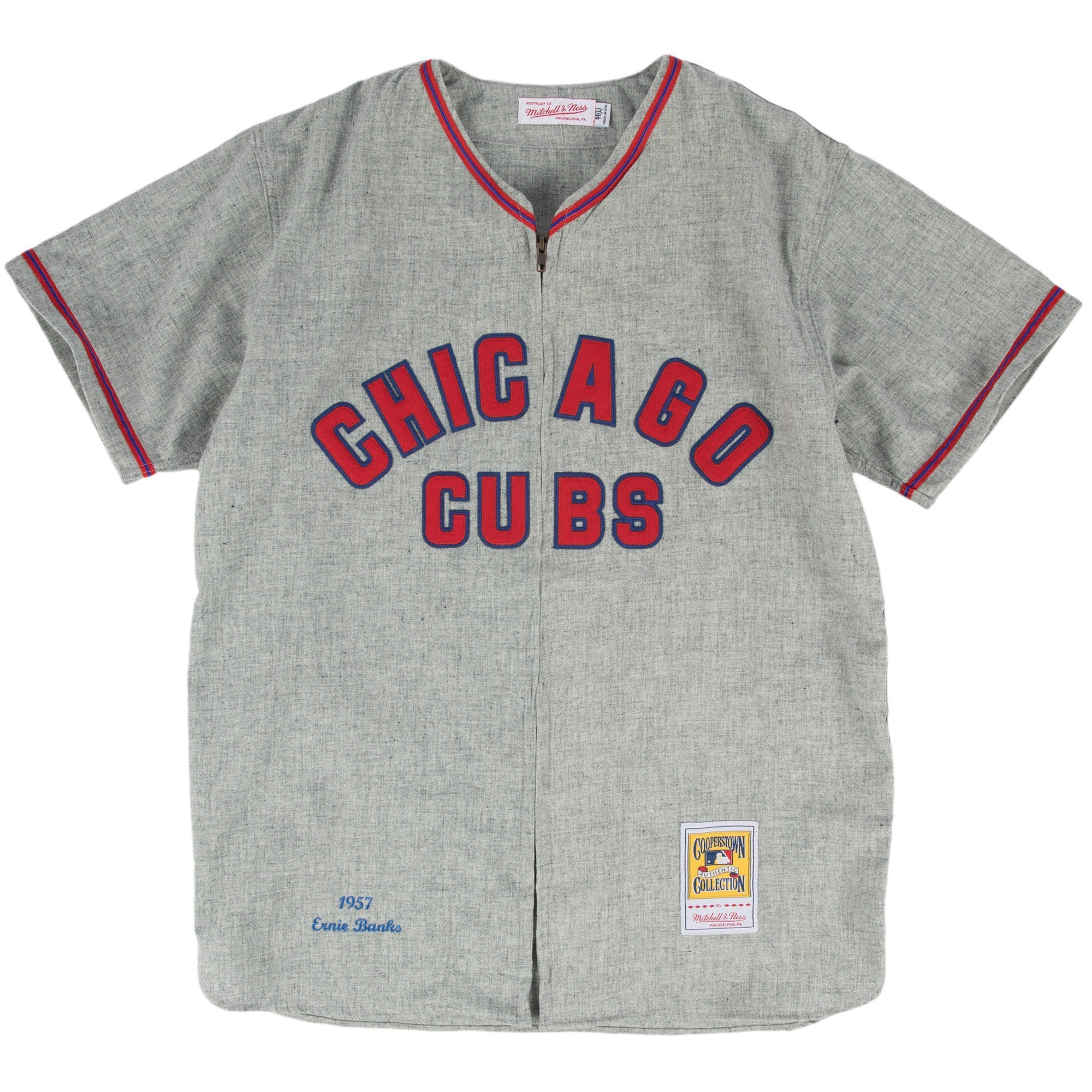 best loved 65223 8b5a7 Details about Ernie Banks Chicago Cubs Mitchell & Ness Authentic MLB 1957  Zip Front Jersey