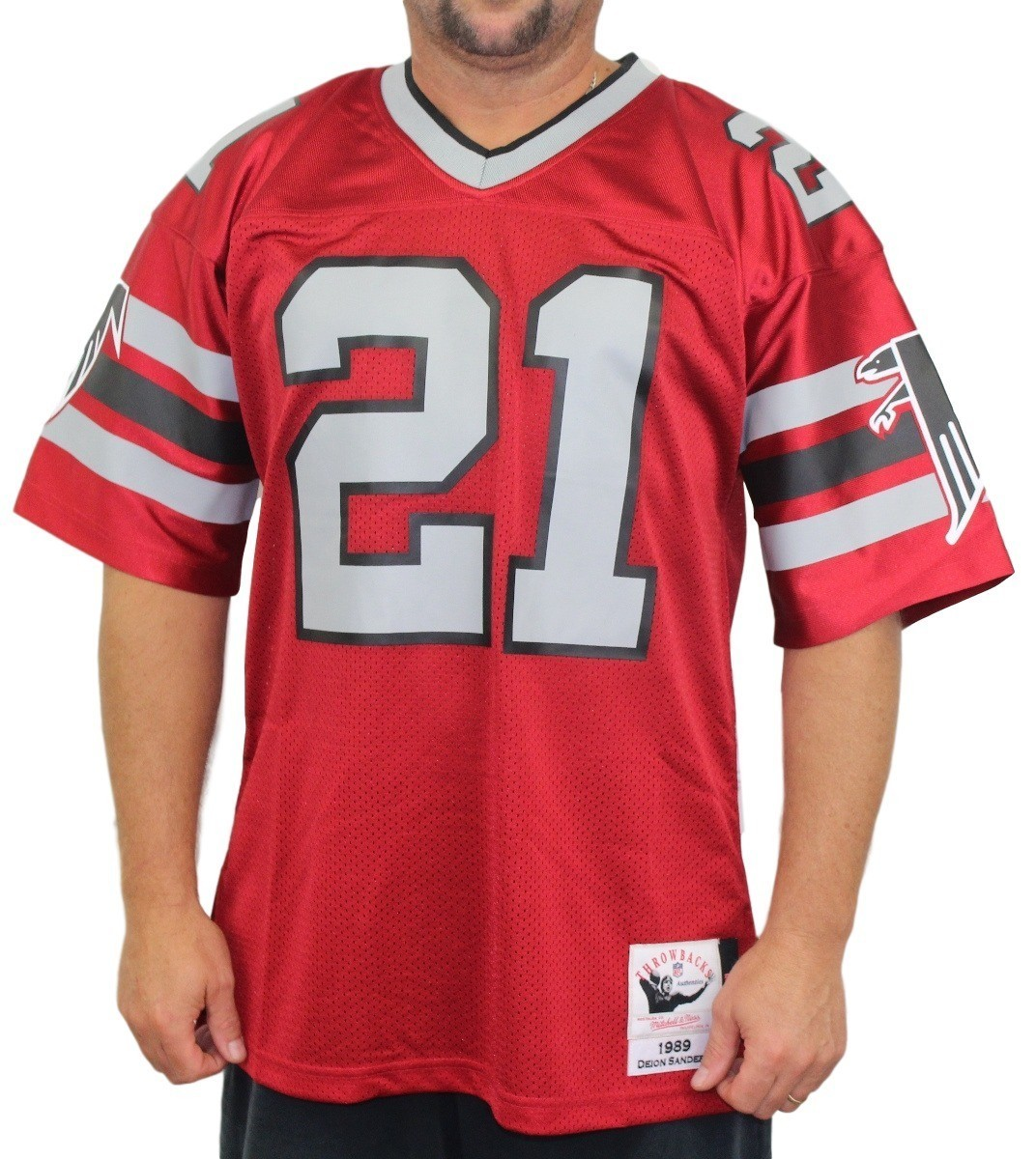 ... sale deion sanders atlanta falcons mitchell ness authentic 1989 red nfl  jersey b6937 3be54 47cdd069c