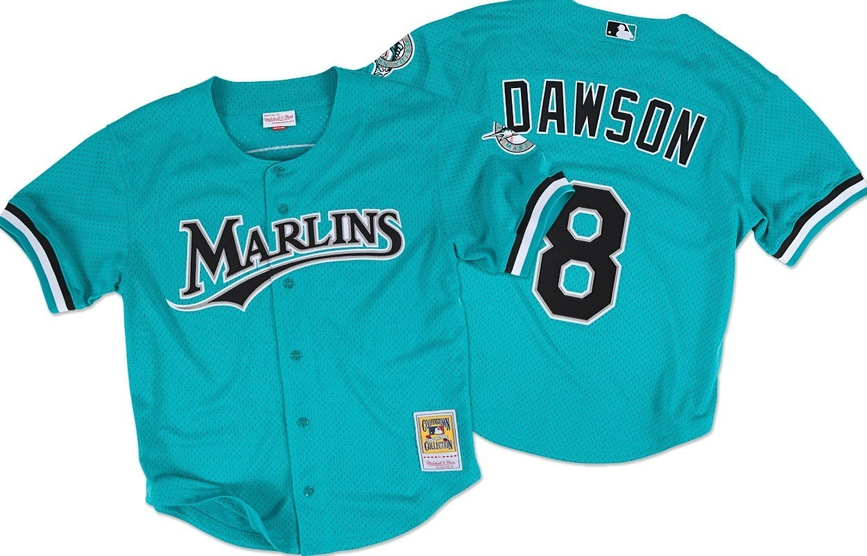 Andre Dawson Florida Marlins Mitchell & Ness Authentic Button Up 1995 BP Jersey