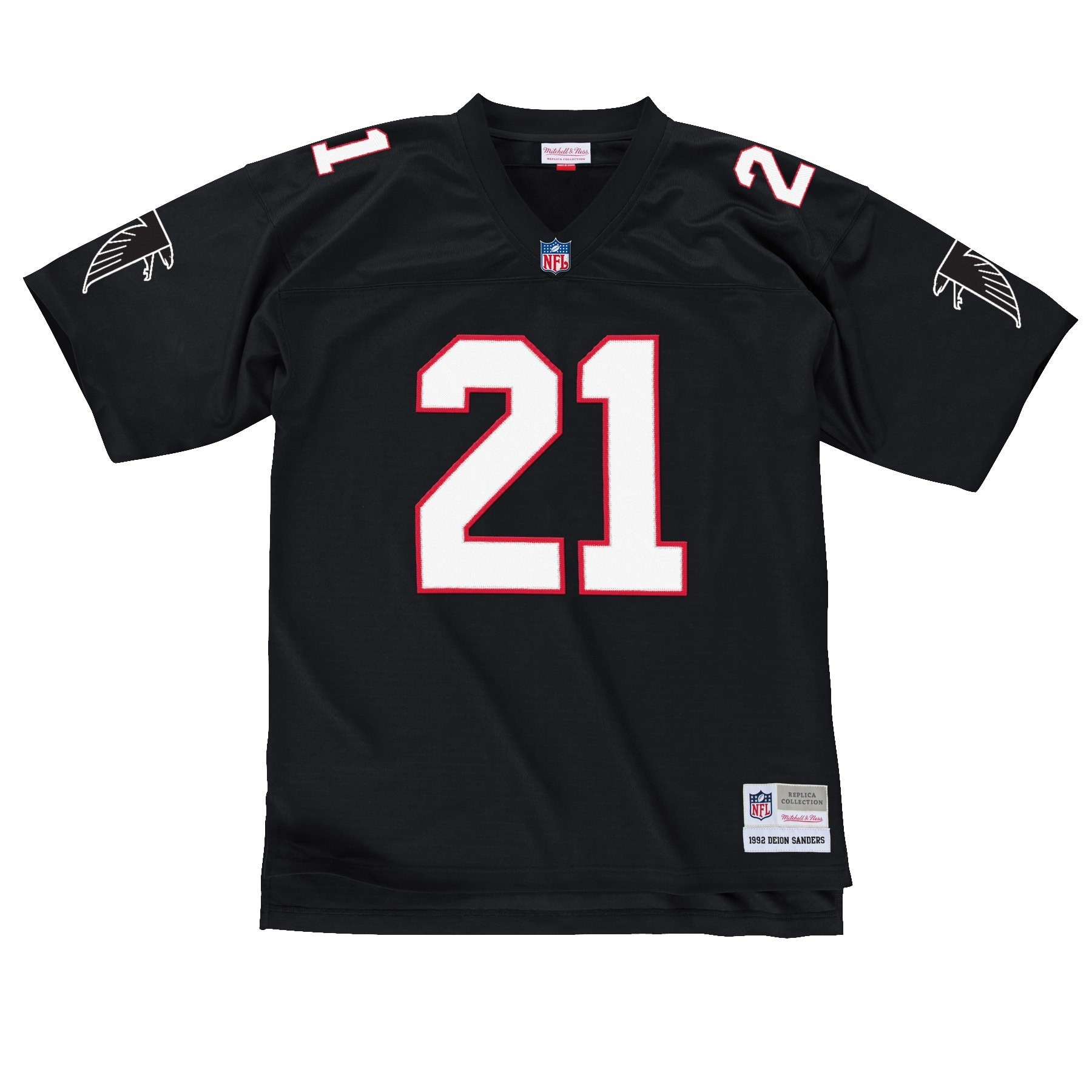 d4957cc43 Details about Deion Sanders Atlanta Falcons NFL Mitchell & Ness Throwback  Premier Black Jersey
