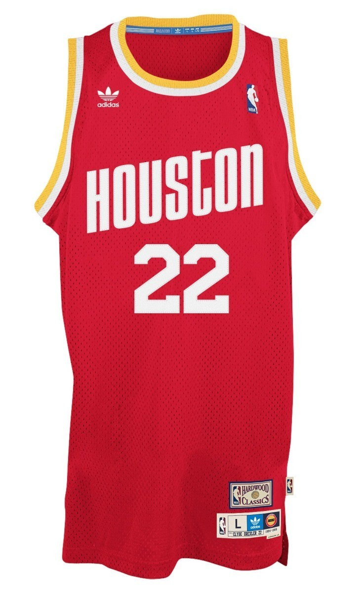 63aa2f002f7 ... top quality clyde drexler houston rockets adidas nba throwback swingman jersey  red 73ffe 3eef3
