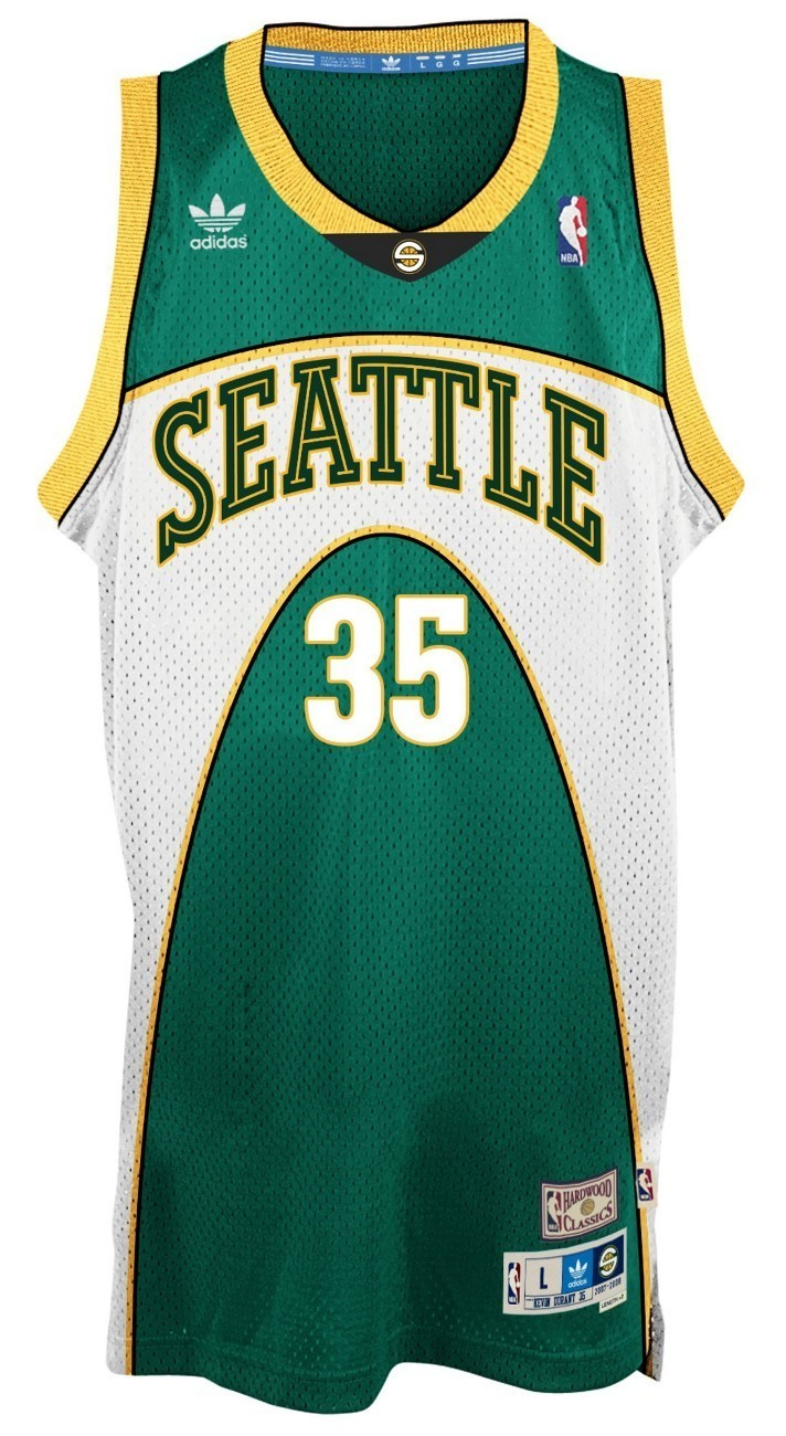 the latest 30dd8 72a38 Kevin Durant Seattle Supersonics Adidas NBA Throwback Swingman Green Jersey