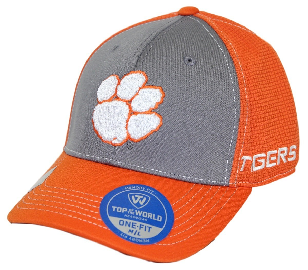 """Clemson Fitted Hat: Clemson Tigers NCAA TOW """"Dynamic"""" Memory Fit Performance"""