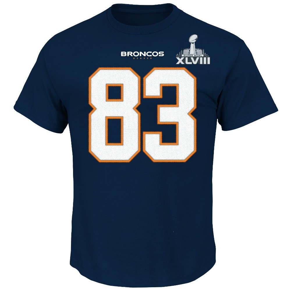 Wes Welker Denver Broncos Majestic Super Bowl XLVIII Player T-shirt