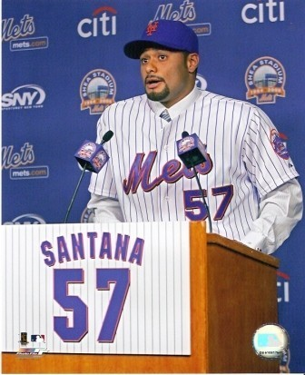 Johan Santana at Mets Press Conference 8x10 Photo