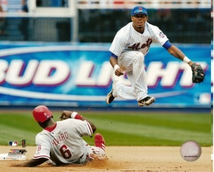 Jose Reyes Mets Over Ryan Howard 8x10 Color Photo