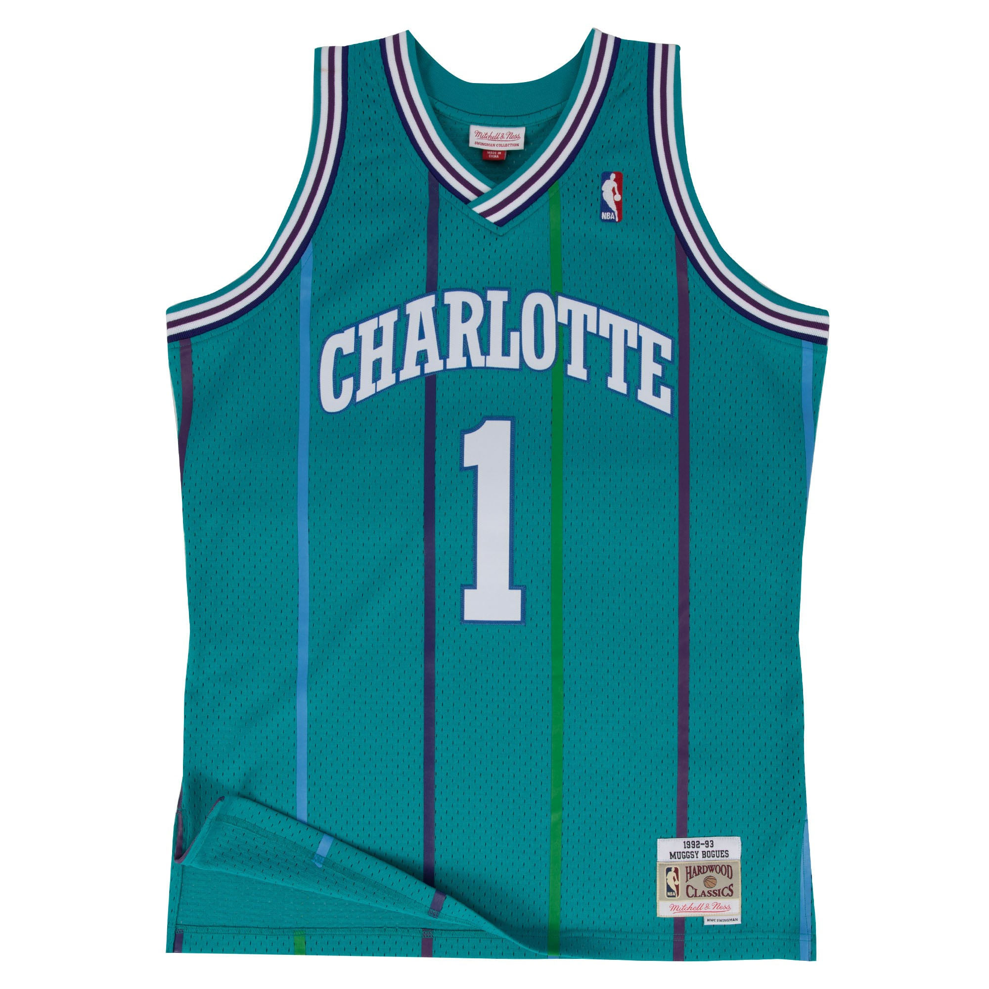 4b094660d33c Details about Muggsy Bogues Charlotte Hornets NBA Mitchell   Ness Youth  Swingman Jersey