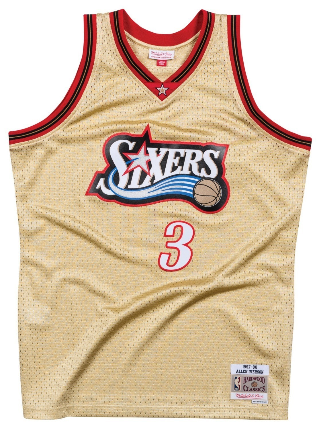 a1e3bf17f Allen Iverson Philadelphia 76ers Mitchell   Ness NBA Throwback Jersey - Gold