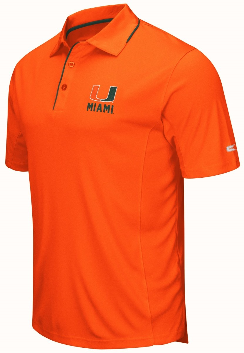 Buy miami hurricanes ncaa maestro men 39 s performance polo for Embroidered polo shirts miami