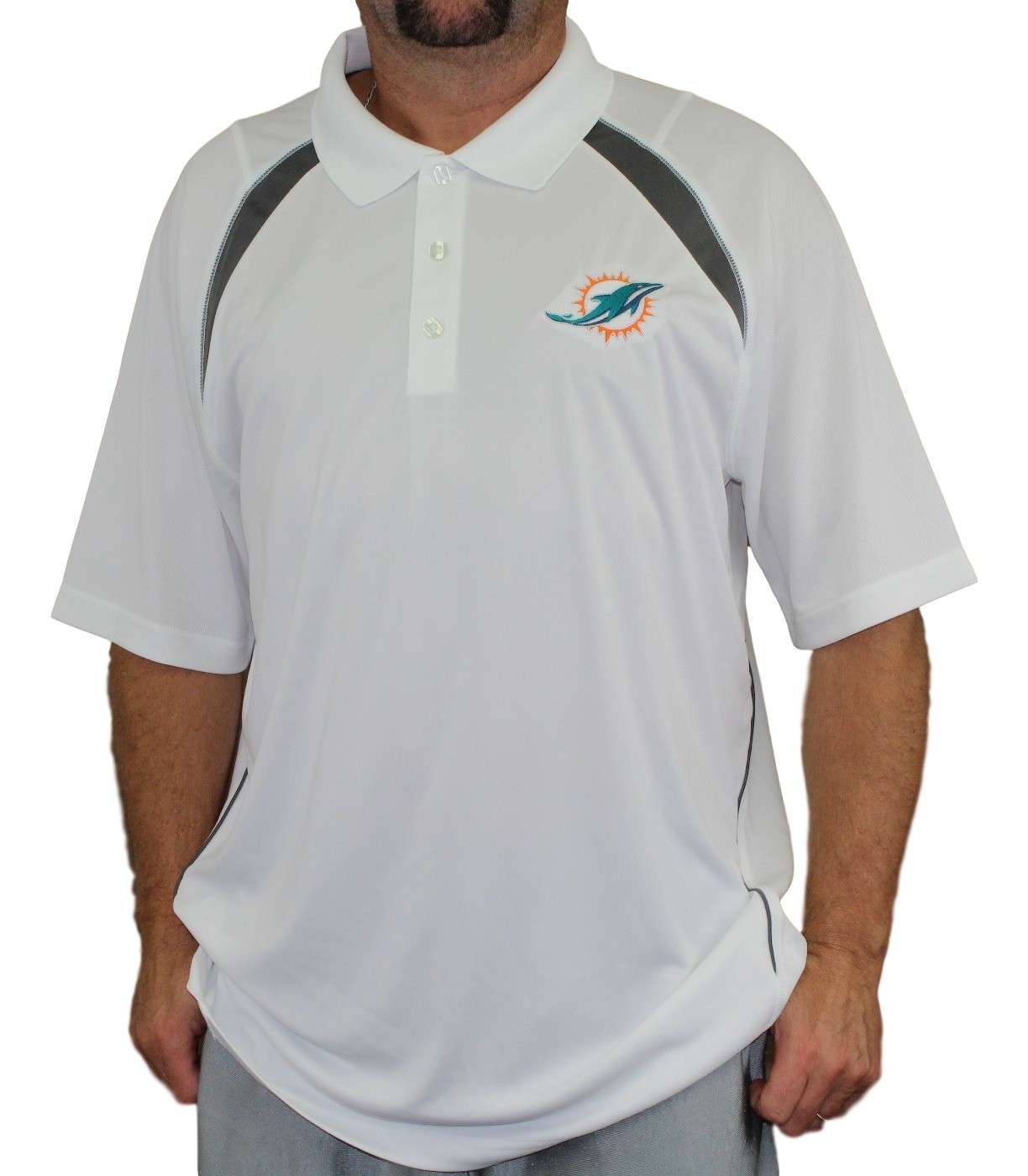 Miami dolphins majestic nfl winners men 39 s short sleeve for Embroidered polo shirts miami