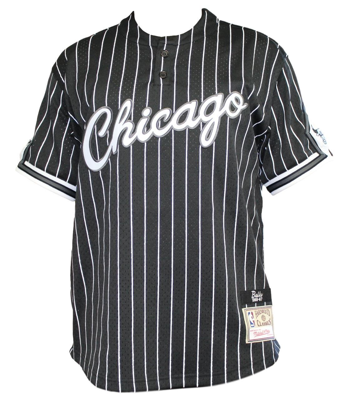 new product c8bbb c6c6c Chicago Bulls Mitchell   Ness Men s Black Pinstriped Mesh Baseball Jersey  Shirt