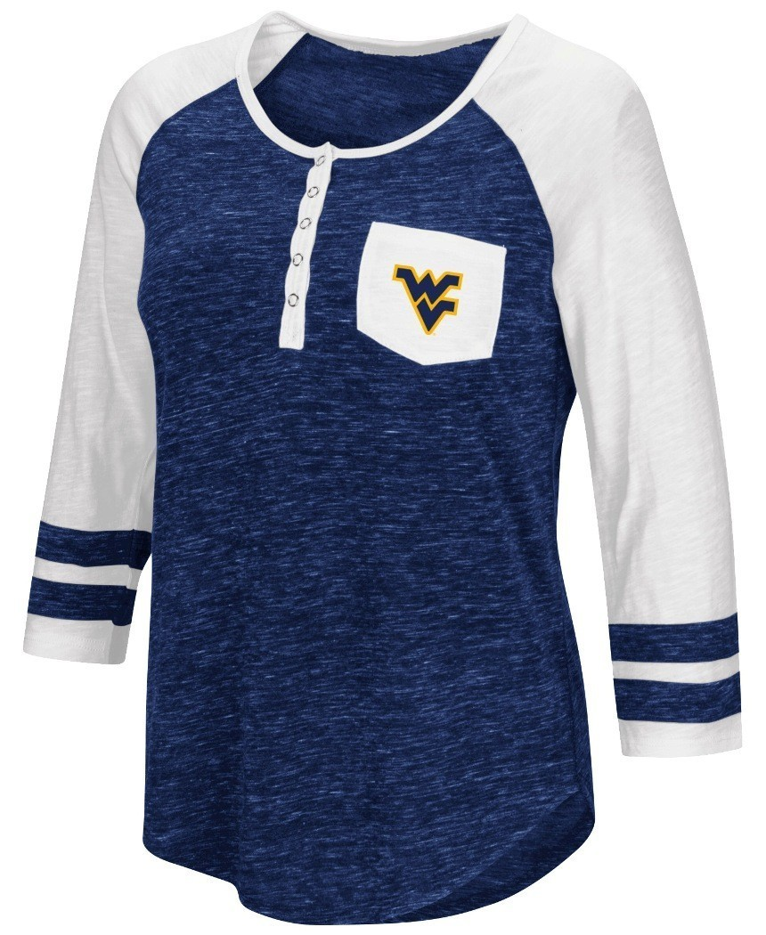 West virginia mountaineers ncaa women 39 s inconceivable 3 for 3 4 henley shirt