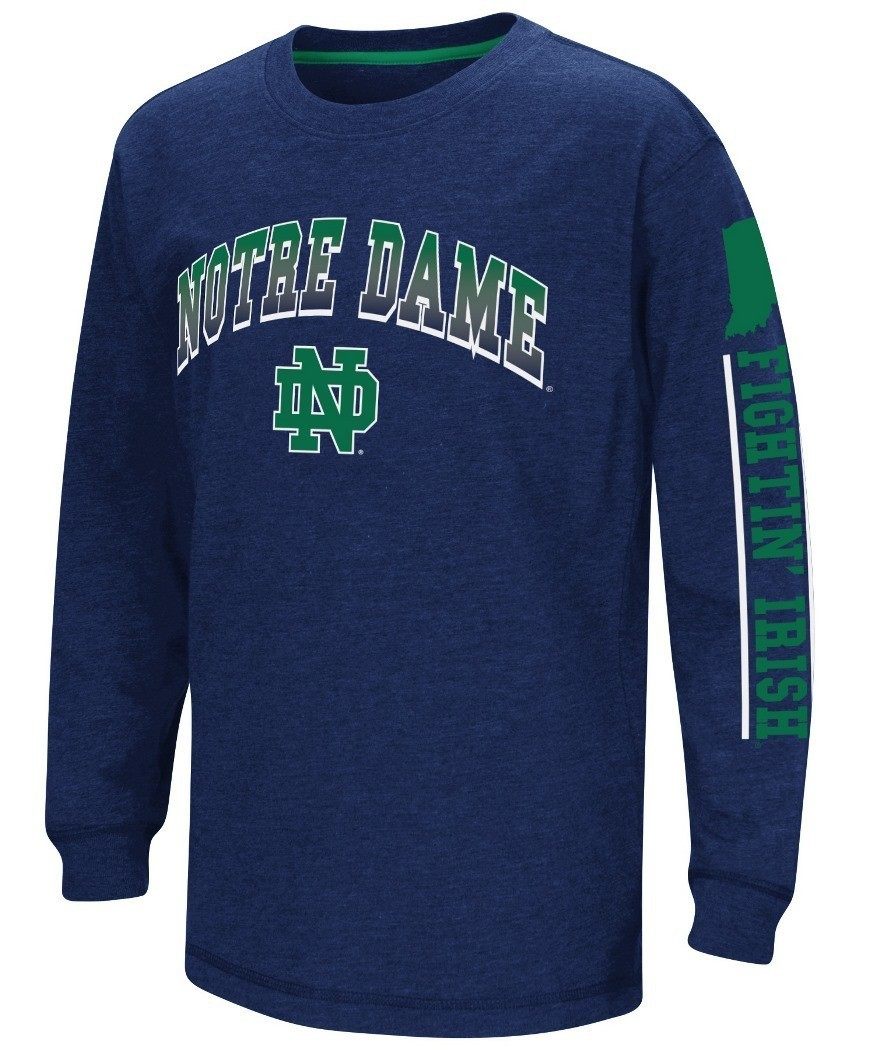 Notre dame fighting irish ncaa grandstand long sleeve dual for Notre dame youth t shirts