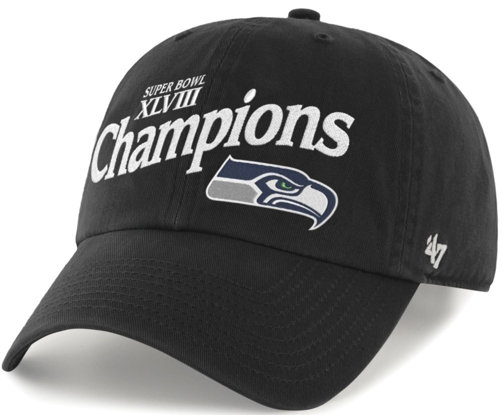 purchase cheap 98688 a7209 Seattle Seahawks Super Bowl XLVIII Champions 47 Brand Clean Up Adjustable  Hat