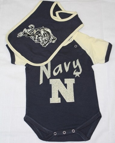 Navy Midshipmen Infant Bolt Onesie w/Bib