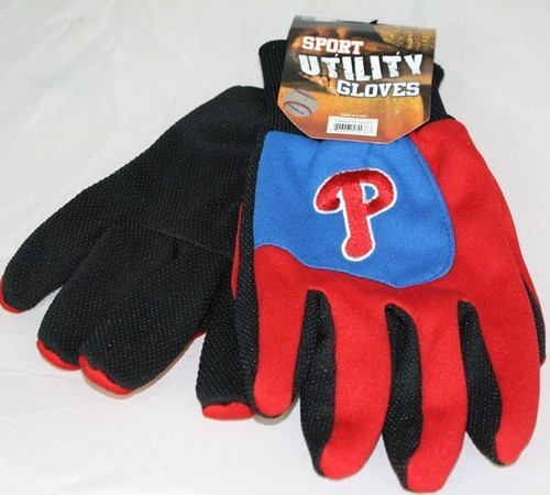 Philadelphia Phillies MLB Colorblock Red Finger Work Gloves