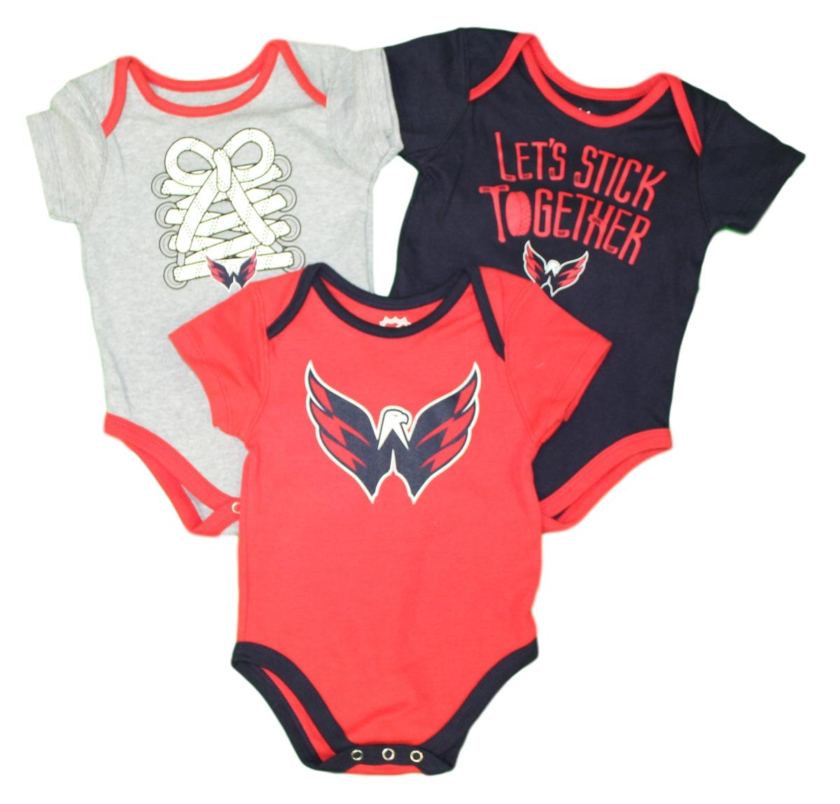 OuterStuff NHL Newborn Infants Five on Three 3 Piece Creeper Bodysuit Set