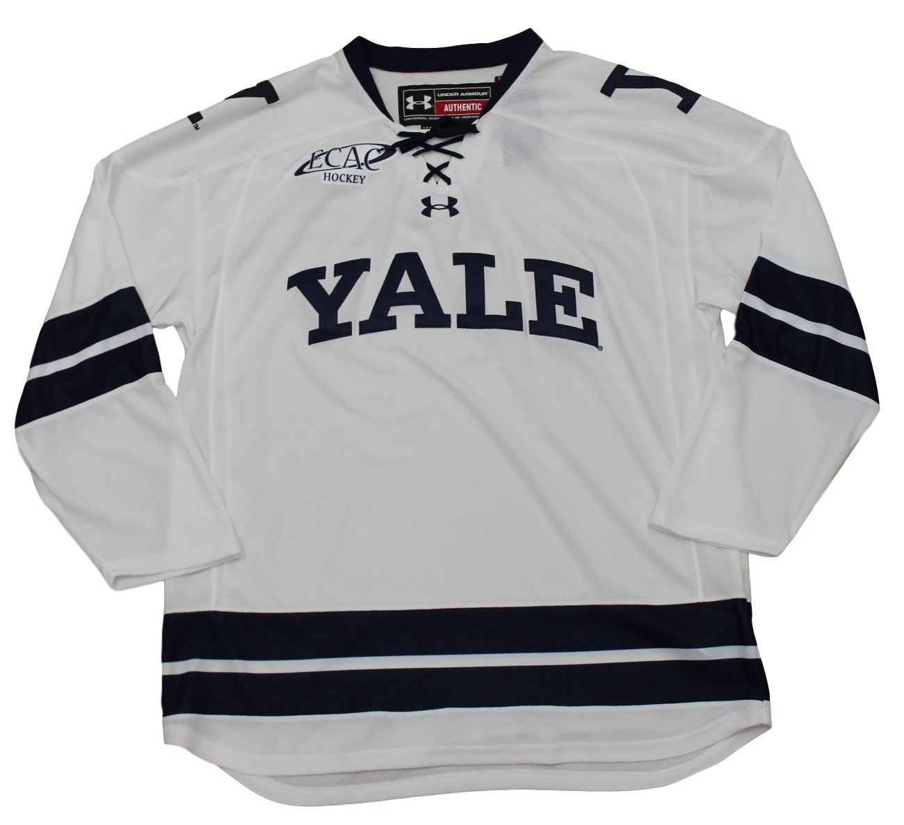 Yale bulldogs under armour ncaa men 39 s white replica hockey for Under armor hockey shirt