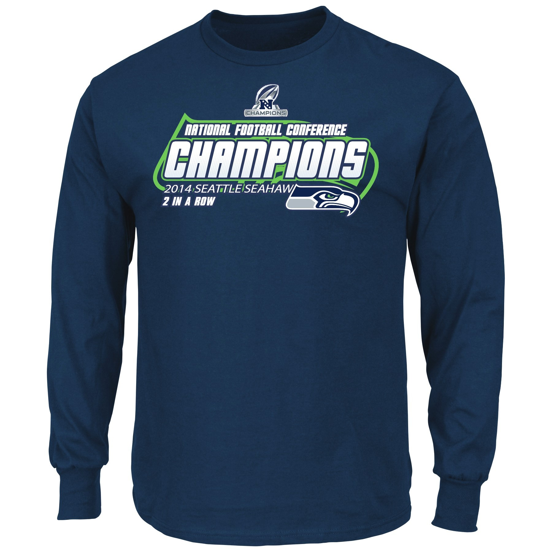 """Seattle Seahawks Majestic 2014 NFC Conference Champions """"Supremacy"""" L/S T-Shirt"""