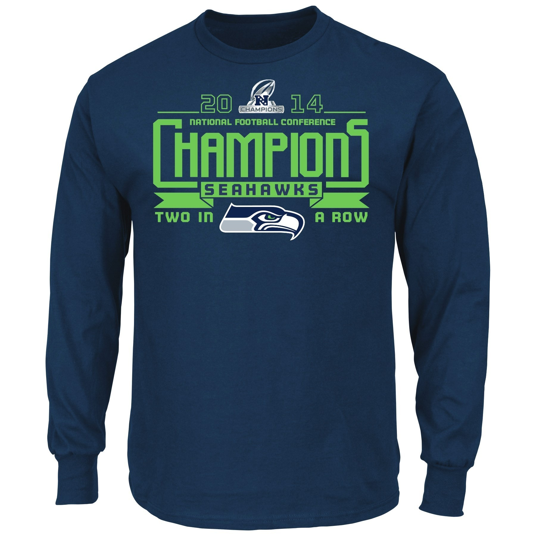 """Seattle Seahawks Majestic 2014 NFC Conference Champions """"Advancing"""" L/S T-Shirt"""