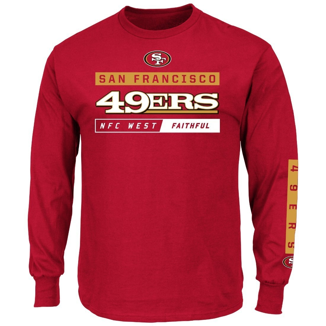 San Francisco 49ers Majestic NFL Primary Receiver 2 Long Sleeve Men's T-Shirt