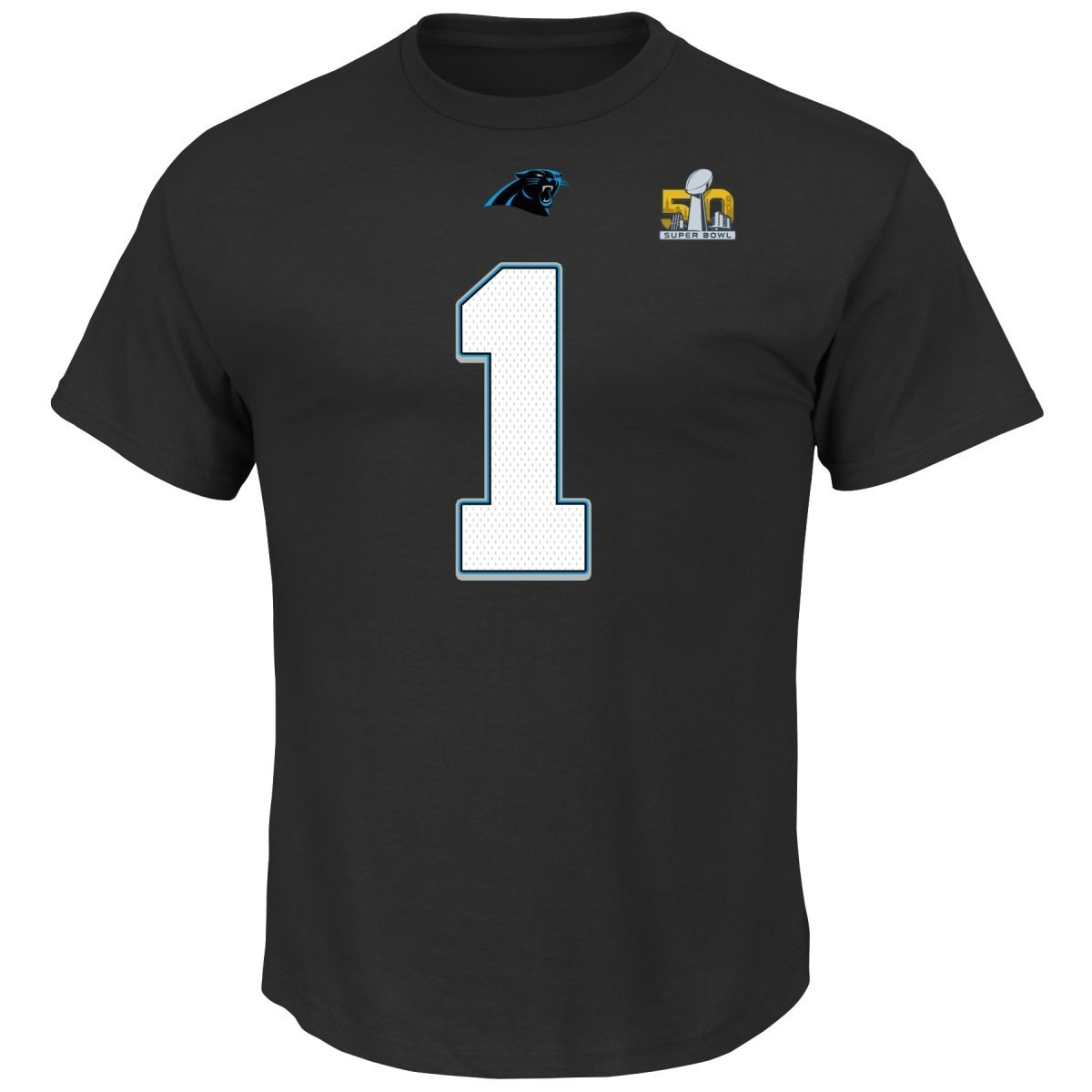 bf672c54e7600 Details about Cam Newton Carolina Panthers Majestic NFL Super Bowl 50  Player T-shirt