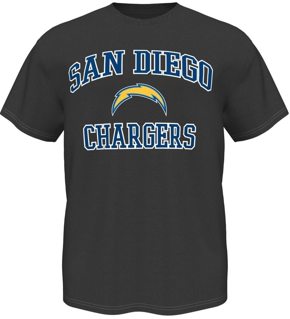 San Diego Chargers Majestic NFL Heart & Soul III Charcoal Men's T-Shirt