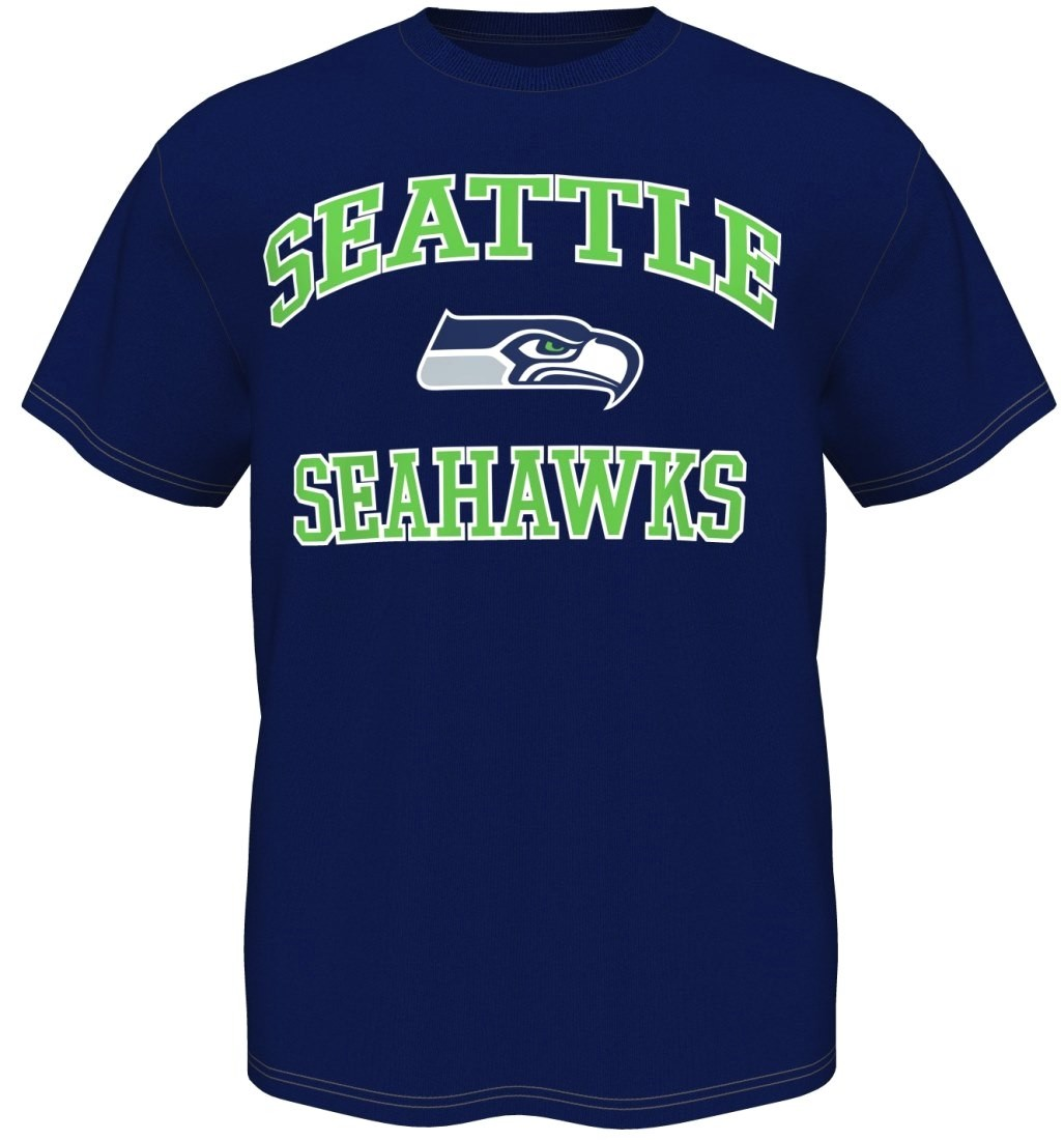 Seattle Seahawks Majestic NFL Heart & Soul III Men's T-Shirt - Navy