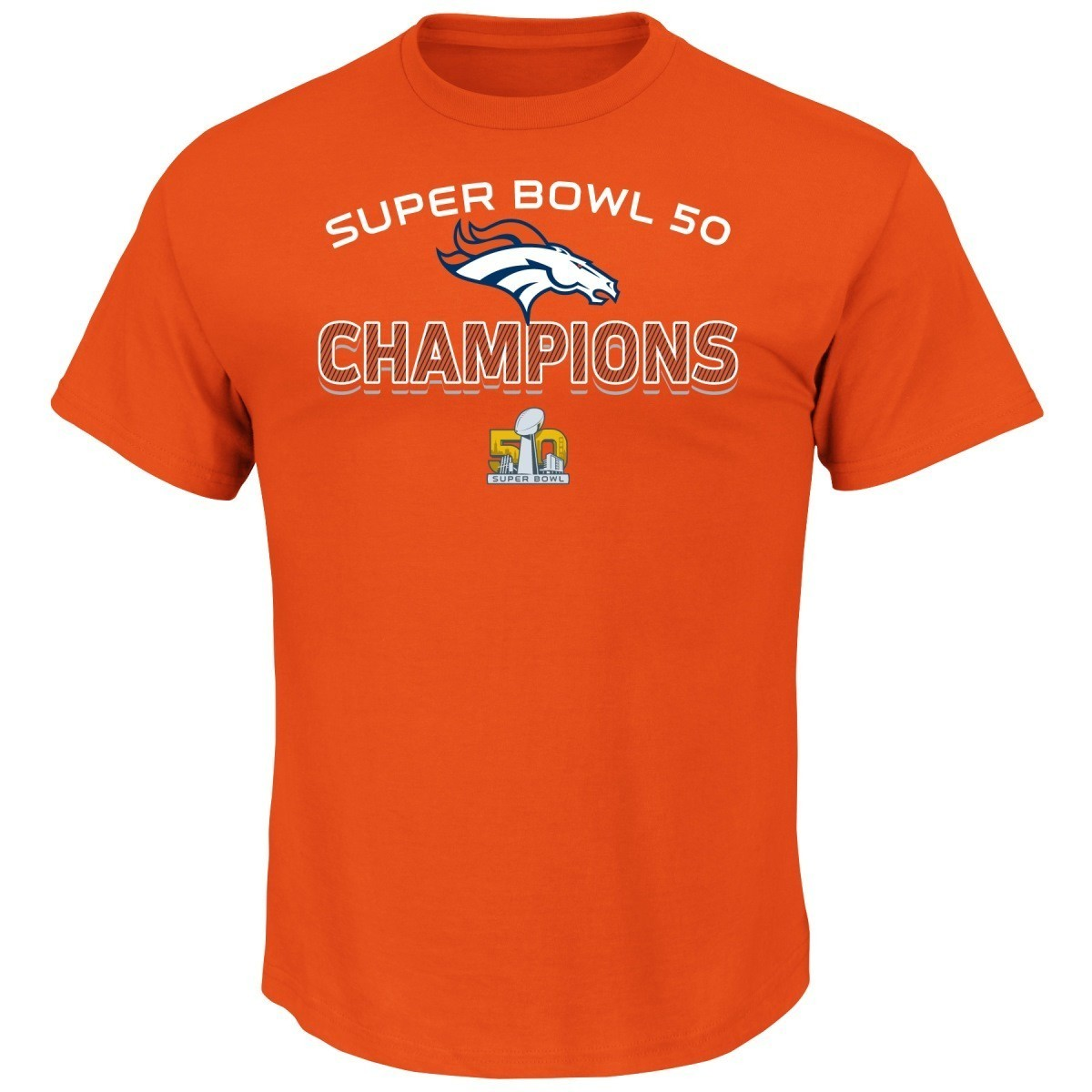 "Denver Broncos Majestic NFL Super Bowl 50 Champions ""Victory"" Men's T-Shirt"