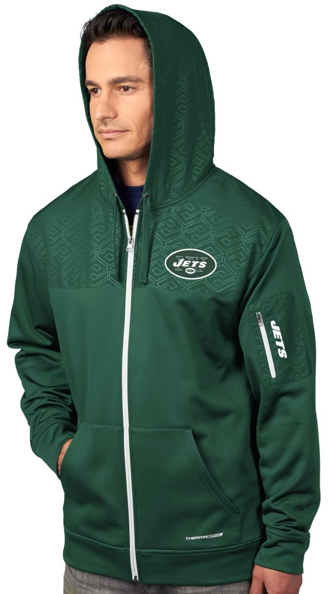 "New York Jets Majestic ""Action"" Men's F/Z Therma Base Hooded Sweatshirt"