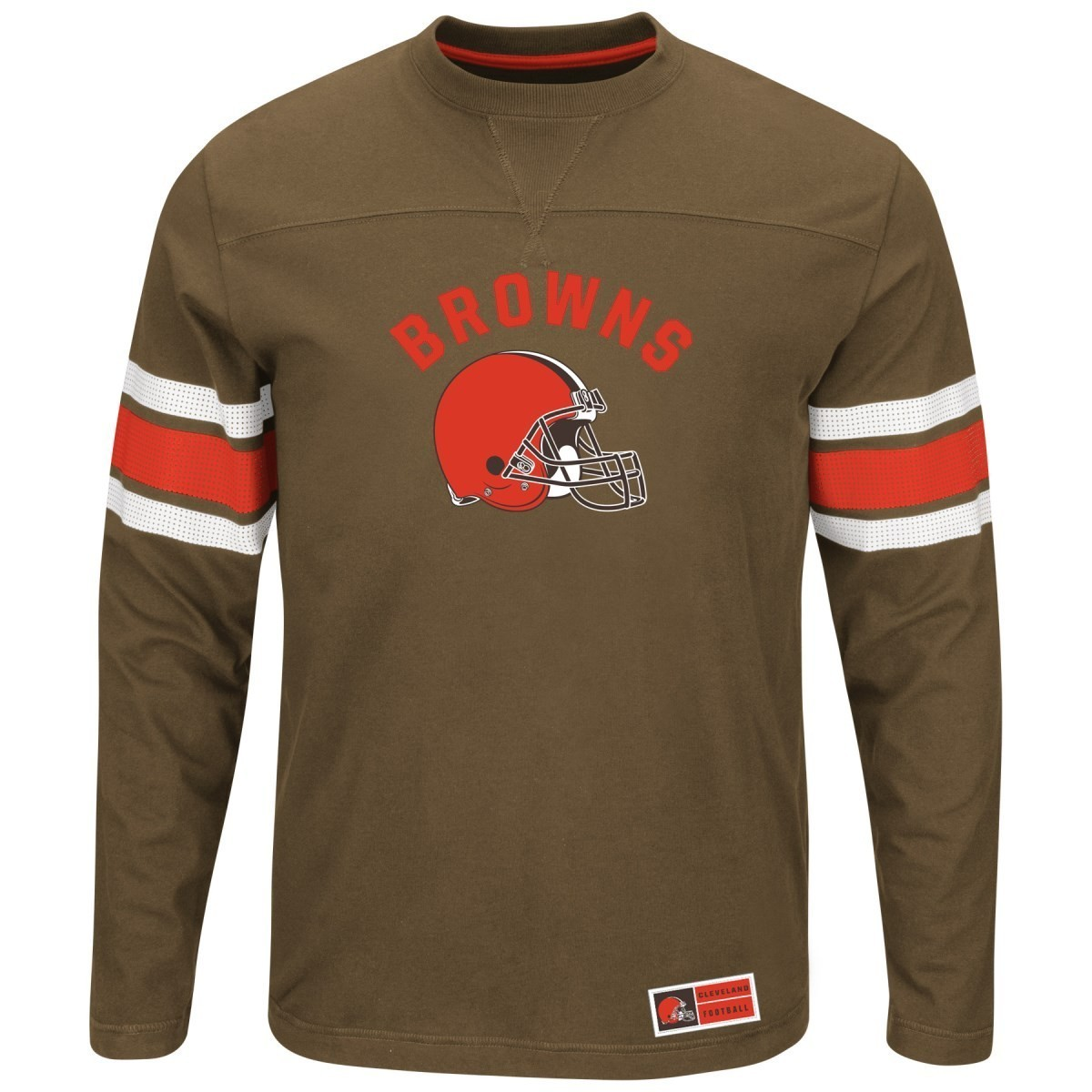 """Cleveland Browns Majestic NFL """"Powerful Hit"""" Men's Long Sleeve Crew Shirt"""