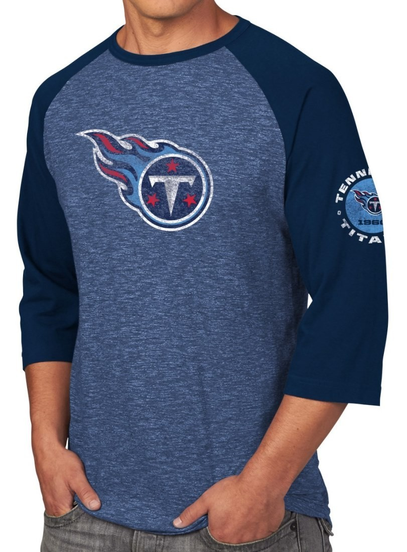 """Tennessee Titans Majestic NFL """"Great Move"""" Men's 3/4 Sleeve Tri-Blend T-Shirt"""