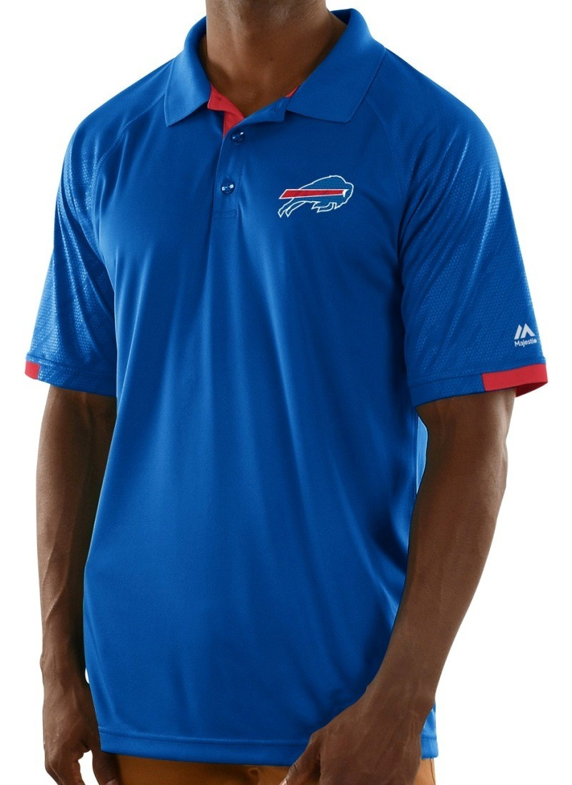 Buffalo bills majestic nfl club level men 39 s short sleeve for Buffalo bills polo shirts
