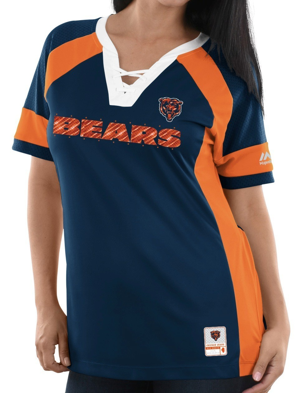 Chicago Bears Womens Majestic NFL quot;Draft Me 3quot; Jersey Top Shirt Navy
