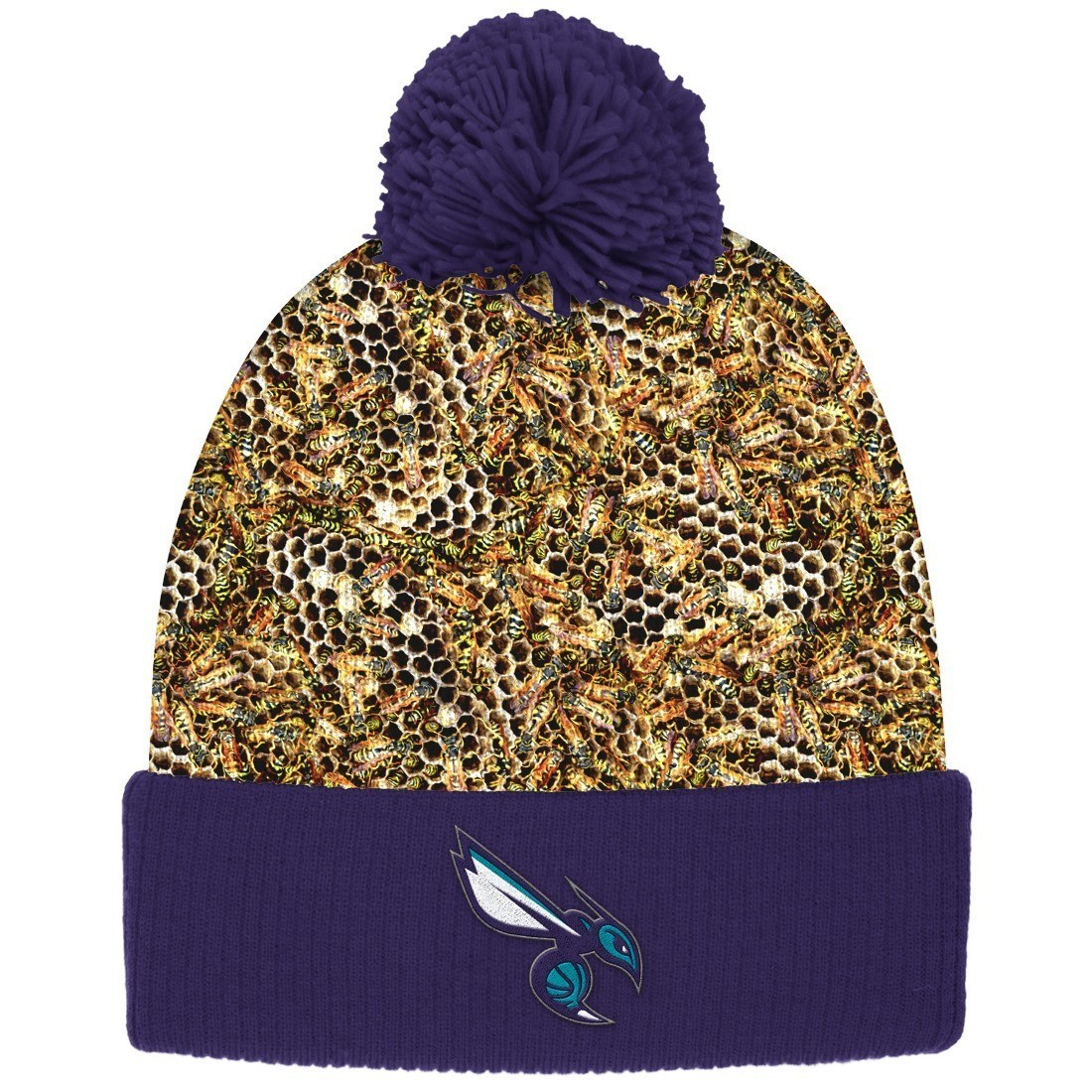 """Charlotte Hornets Mitchell & Ness NBA """"Thematic"""" Cuffed Pom Knit Hat"""