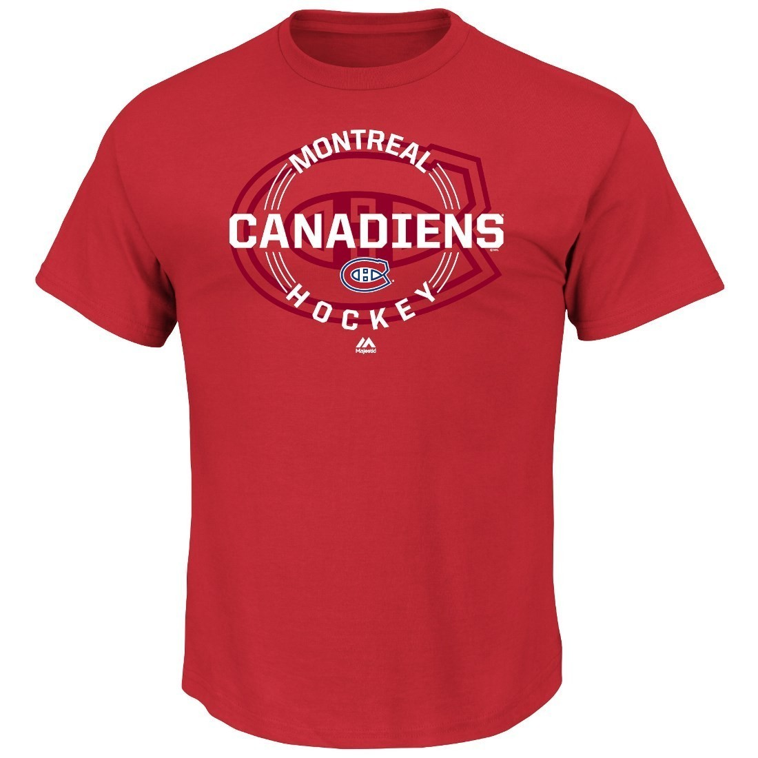 """Montreal Canadiens Majestic NHL """"Clearing the Puck"""" Short Sleeve Men's T-Shirt"""