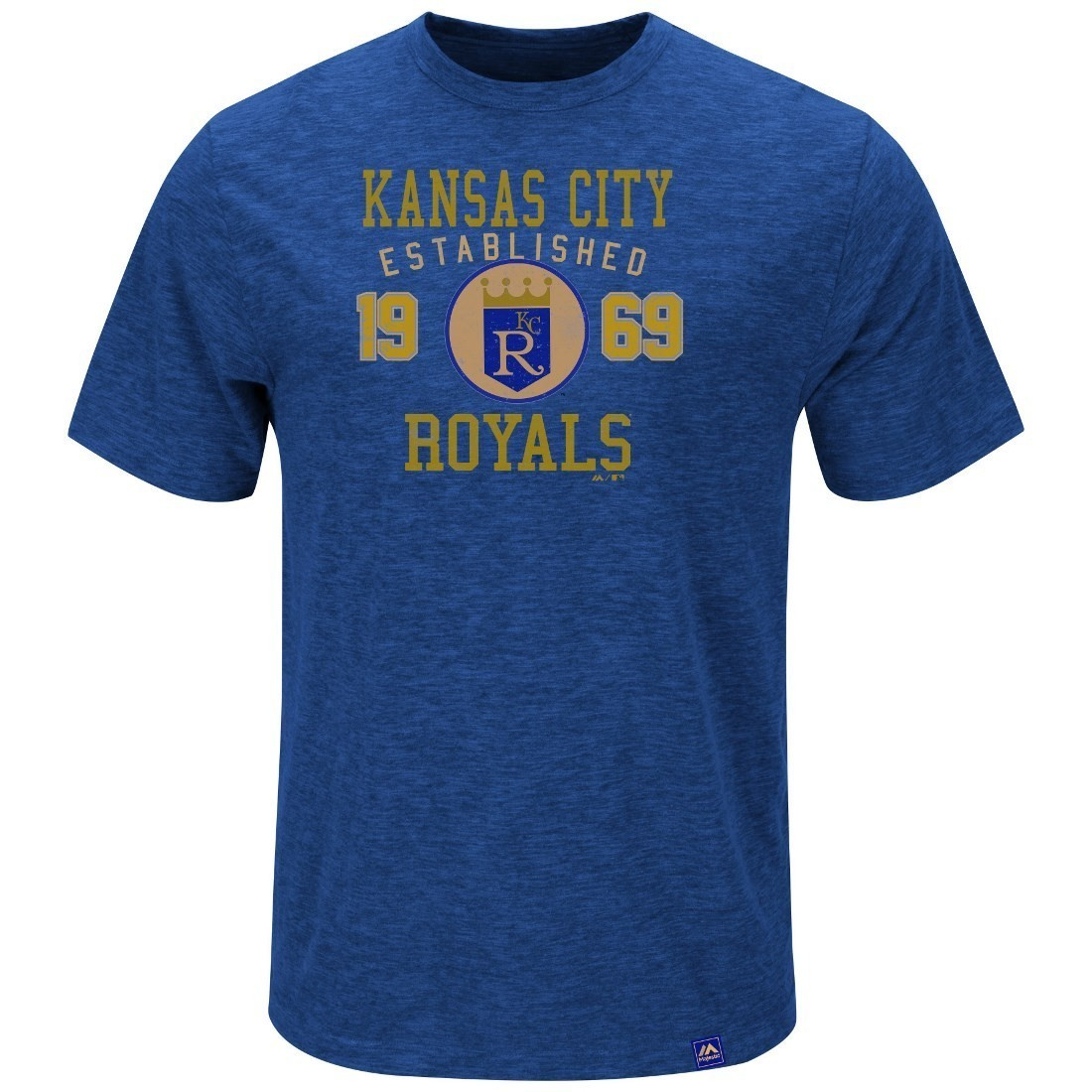 Kansas City Royals Majestic MLB Heads Or Tails Cooperstown Hyper Slub S/S Shirt