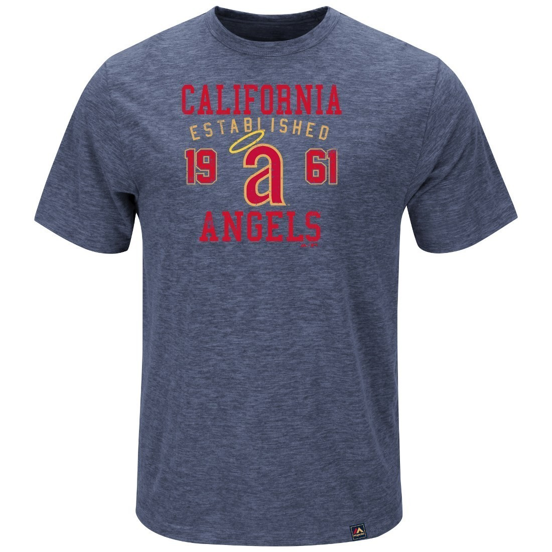 """California Angels Majestic MLB """"Heads Or Tails"""" Cooperstown Hyper Slub S/S Shirt"""