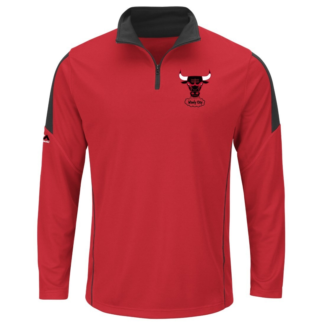 "Chicago Bulls Majestic NBA ""Status"" 1/4 Zip Cool Base Pullover Shirt"